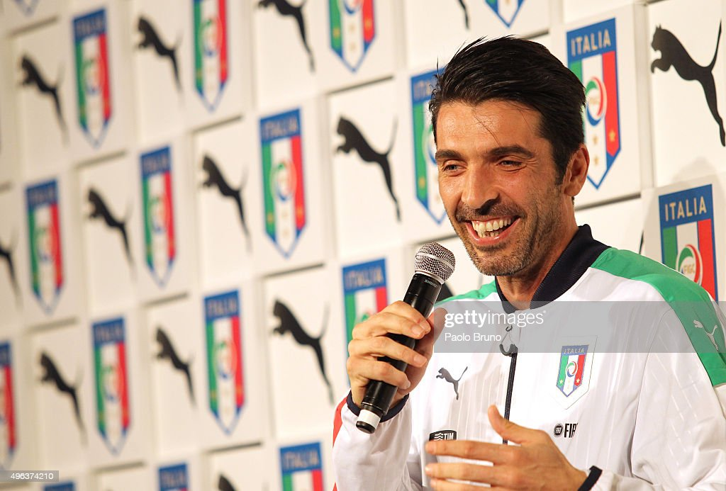 Gianluigi Buffon attends the launch of the new Puma home kit at Palazzo Vecchio on November 9, 2015 in Florence, Italy.