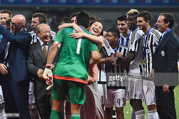 Gianluigi Buffon, captain of Juventus FC, celebrates with teammates after winning S.S. Lazio during Italian Super Cup final football match between...