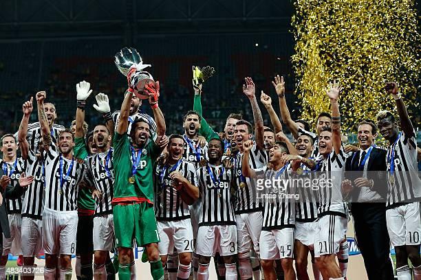 Gianluigi Buffon captain of Juventus FC celebrates with teammates after winning the Italian Super Cup final football match between Juventus and Lazio...