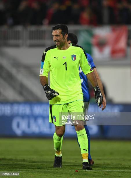 Gianluigi Buffon celebrates win after the FIFA 2018 World Cup Qualifier between Albania and Italy at Loro Borici Stadium on October 9 2017 in...