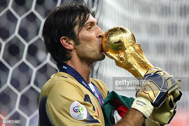 Gianluigi Buffon celebrates with the trophy after the final of the 2006 FIFA World Cup between Italy and France