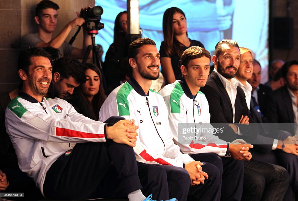 Gianluigi Buffon, Davide Astori and Manolo Gabbiadini attend the launch of the new Puma home kit at Palazzo Vecchio on November 9, 2015 in Florence, Italy.