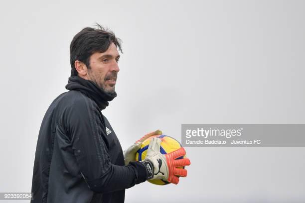 Gianluigi Buffon during a Juventus training session at Juventus Center Vinovo on February 23 2018 in Vinovo Italy