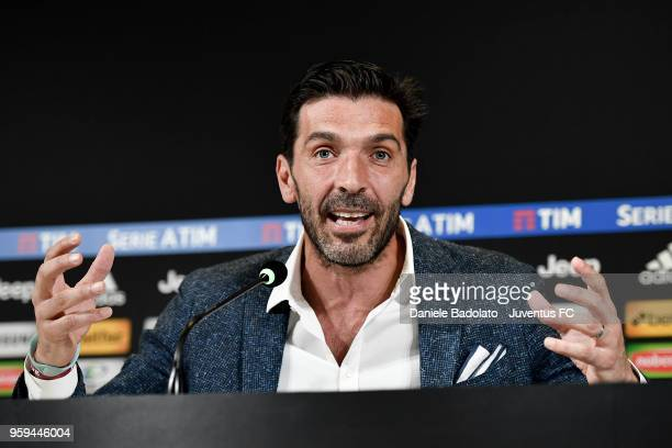 Gianluigi Buffon during a press conference at Allianz Stadium on May 17 2018 in Turin Italy