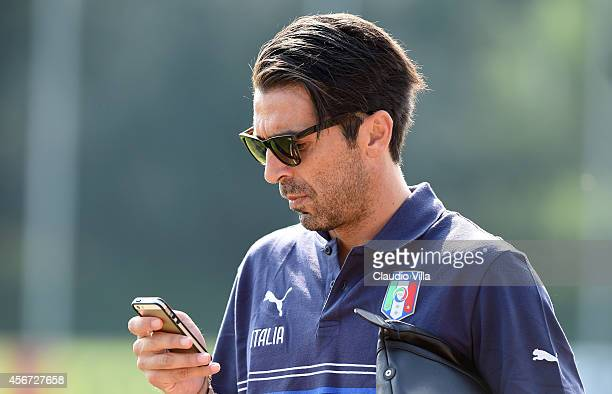 Gianluigi Buffon during Italy Training Session at Coverciano on October 6 2014 in Florence Italy