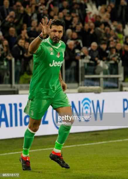 Gianluigi Buffon during Serie A match between Juventus v Atalanta in Turin on March 14 2018