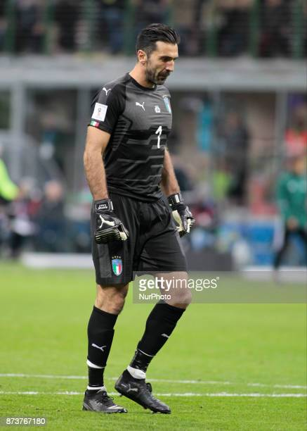 Gianluigi Buffon during the playoff match for qualifying for the Football World Cup 2018 between Italia v Svezia in Milan on November 13 2017