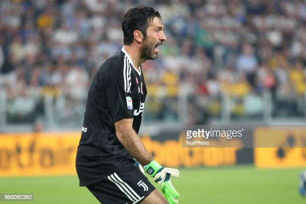 Gianluigi Buffon during the Serie A football match between Juventus FC and SSC Napoli at Allianz Stadium on April 22 2018 in Turin Italy Final result...