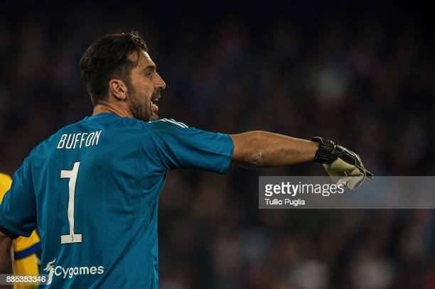 Gianluigi Buffon goalkeeper of Juventus issues instructions during the Serie A match between SSC Napoli and Juventus at Stadio San Paolo on December...