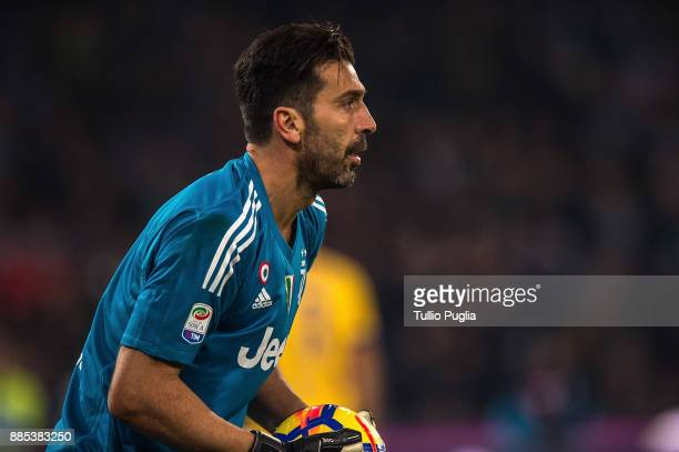 Gianluigi Buffon goalkeeper of Juventus looks on during the Serie A match between SSC Napoli and Juventus at Stadio San Paolo on December 1 2017 in...