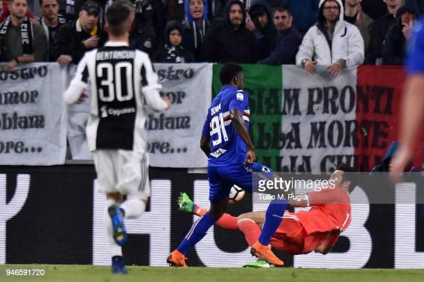Gianluigi Buffon goalkeeper of Juventus saves a goal after winning the serie A match between Juventus and UC Sampdoria at Allianz Stadium on April 15...
