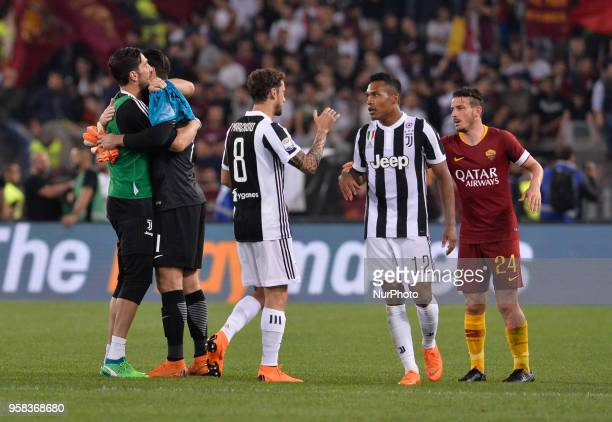 Gianluigi Buffon greets Alisson Becker after the Italian Serie A football match between AS Roma and FC Juventus at the Olympic Stadium in Rome on may...