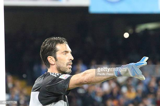 Gianluigi Buffon in action during soccer match between SSC Napoli and Juventus at San Paolo Stadium