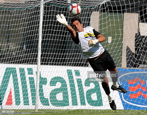 Gianluigi Buffon in action during the friendly match between Juventus and Vicenza at the'Briamasco' stadium on July 21 2009 in Trento Italy