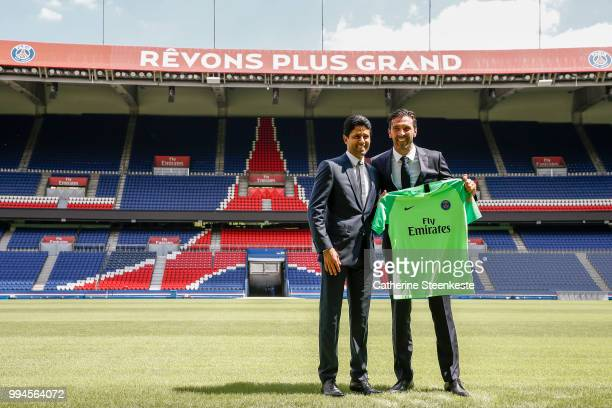 Gianluigi Buffon is presented to the press by Nasser AlKhelaïfi PSG's President at Parc des Princes on July 9 2018 in Paris France