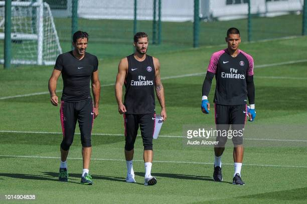 Gianluigi Buffon Kevin Trapp and Alphonse Areola of PSG during the Training Session of Paris Saint Germain at Camp des Loges on August 11 2018 in...