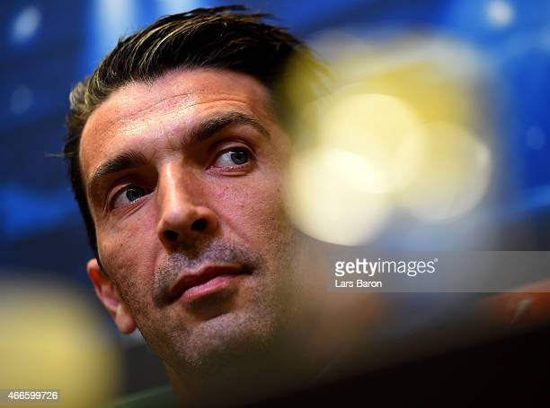 Gianluigi Buffon looks on during a Juventus Turin press conference at Signal Iduna Park on March 17 2015 in Dortmund Germany