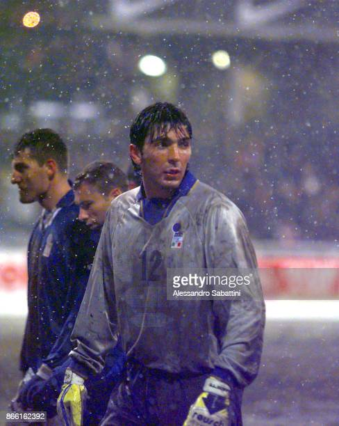 Gianluigi Buffon makes his debut for Italy during the Fifa 1998 World Cup Qualifier between Russia and Italy on October 29 1997 in Moscow Russia