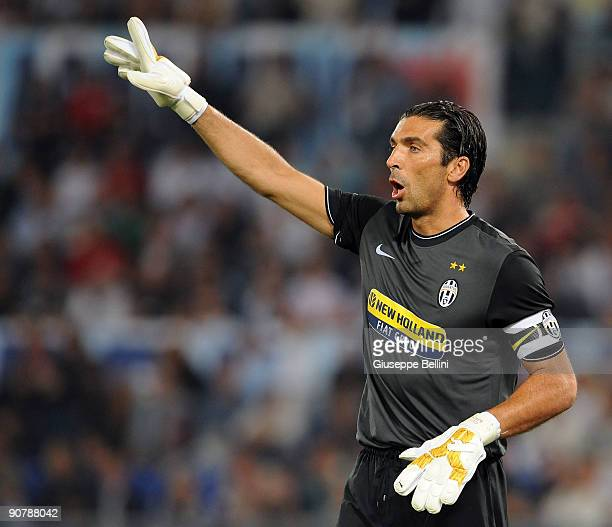 Gianluigi Buffon of FC Juventus gestures during the Serie A match between SS Lazio v FC Juventus at Stadio Olimpico on September 12 2009 in Rome Italy
