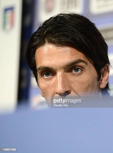 Gianluigi Buffon of Italy attends a press conference at Casa Azzurri on June 22 2012 in Krakow Poland