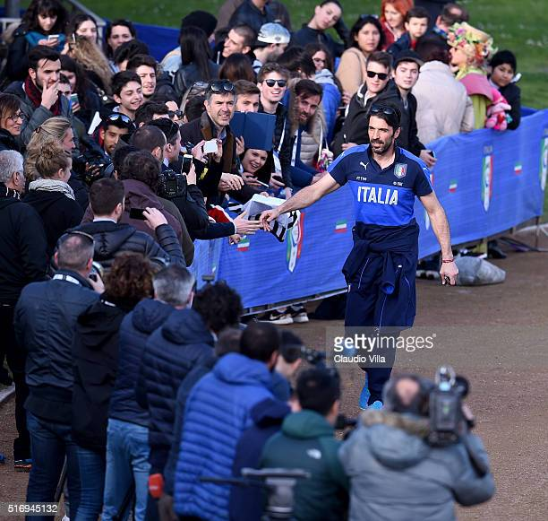 Gianluigi Buffon of Italy attends prior to the Italy training session at the club's training ground at Coverciano on March 22 2016 in Florence Italy