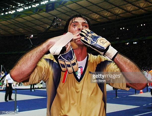 Gianluigi Buffon of Italy blows kisses following his team's victory in a penalty shootout at the end of the FIFA World Cup Germany 2006 Final match...