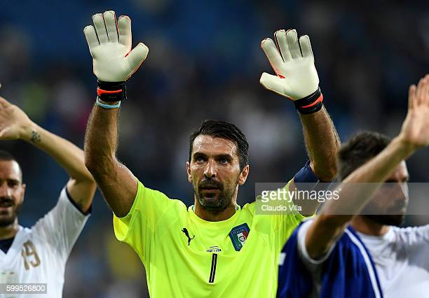 Gianluigi Buffon of Italy celebrates at the end of the FIFA 2018 World Cup Qualifier between Israel and Italy at Itztadion Sammy Ofer on September 5...