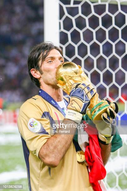 Gianluigi Buffon of Italy celebrates during the World Cup final match between Italy and France at the Olympiastadion in Berlin, Germany, on July 9th,...