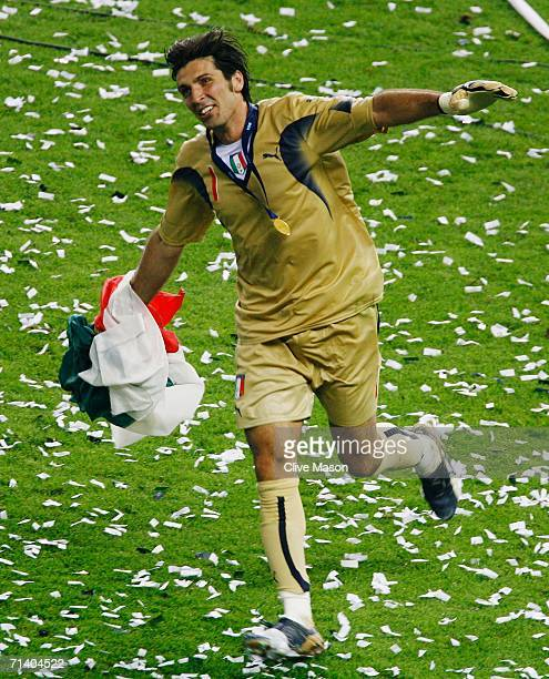 Gianluigi Buffon of Italy celebrates following his team's victory in a penalty shootout at the end of the FIFA World Cup Germany 2006 Final match...