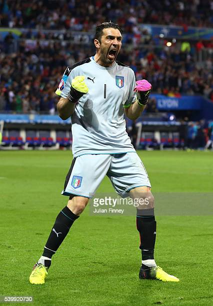 Gianluigi Buffon of Italy celebrates his team's first goal during the UEFA EURO 2016 Group E match between Belgium and Italy at Stade des Lumieres on...