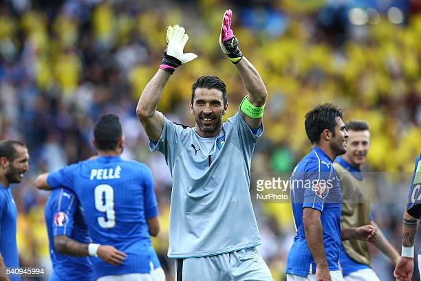 Gianluigi Buffon of Italy celebrates the victory after the UEFA EURO 2016 Group E match between Italy and Sweden at Stadium Municipal on June 17 2016...
