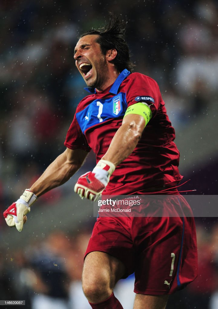 Gianluigi Buffon of Italy celebrates victory and progress to the quarter finals during the UEFA EURO 2012 group C match between Italy and Ireland at The Municipal Stadium on June 18, 2012 in Poznan, Poland.