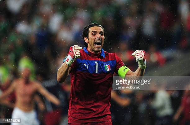 Gianluigi Buffon of Italy celebrates victory and progress to the quarter finals during the UEFA EURO 2012 group C match between Italy and Ireland at...
