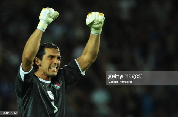 Gianluigi Buffon of Italy celebrates victory during the FIFA 2010 World Cup Qualifying Group 8 match between Italy and Bulgaria at Olimpico Stadium...