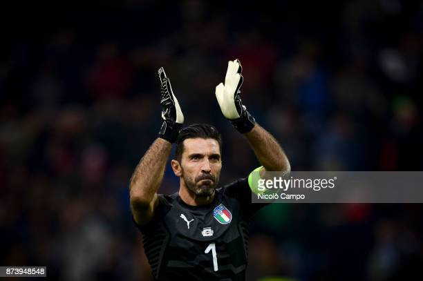 Gianluigi Buffon of Italy claps during the FIFA 2018 World Cup Qualifier PlayOff Second Leg between Italy and Sweden The match ended in a 00 tie