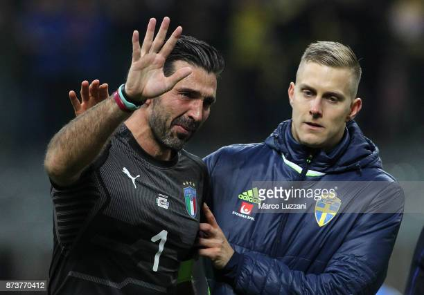 Gianluigi Buffon of Italy cries after loosing at the end of the FIFA 2018 World Cup Qualifier Play-Off: Second Leg between Italy and Sweden at San...