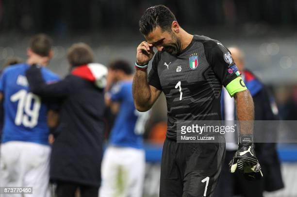 Gianluigi Buffon of Italy cries after loosing at the end of the FIFA 2018 World Cup Qualifier PlayOff Second Leg between Italy and Sweden at San Siro...