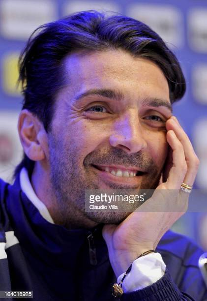 Gianluigi Buffon of Italy during a press conference at Coverciano on March 19 2013 in Florence Italy
