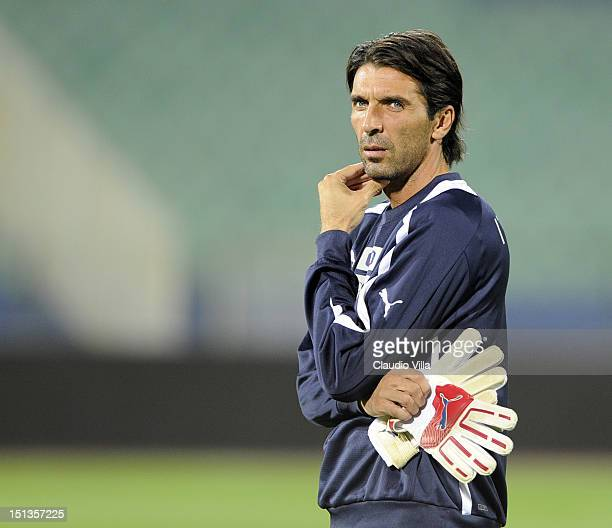 Gianluigi Buffon of Italy during a training session ahead of their FIFA World Cup Brazil 2014 qualifier against Bulgaria at Vasil Levski National...