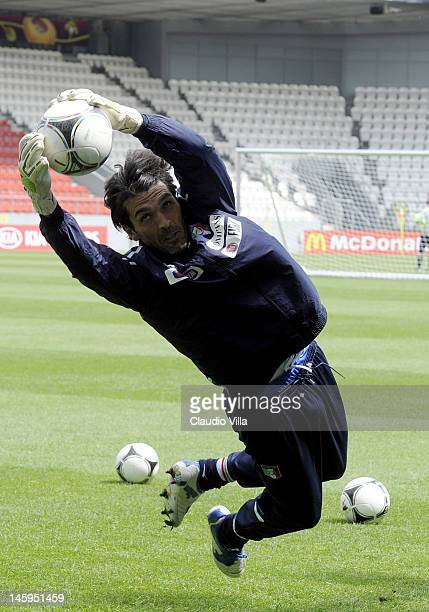 Gianluigi Buffon of Italy during a training session ahead of UEFA EURO 2012 at Pilsudski stadium on June 8 2012 in Krakow Poland