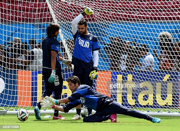 Gianluigi Buffon of Italy during a training session at Arena Pernambuco on June 19 2014 in Recife Brazil