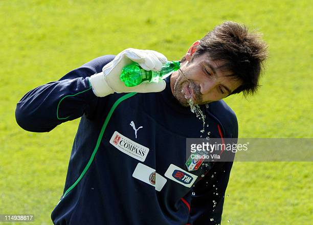 Gianluigi Buffon of Italy during a training session at Coverciano on May 30 2011 in Florence Italy