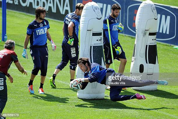 Gianluigi Buffon of Italy during a training session at Coverciano on May 21 2014 in Florence Italy