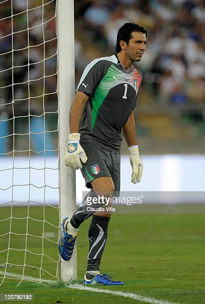 Gianluigi Buffon of Italy during the international friendly match between Italy and Spain at Stadio San Nicola on August 10 2011 in Bari Italy