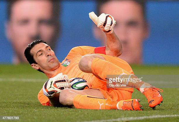 Gianluigi Buffon of Italy during the international friendly match between Spain and Italy at Vicente Calderon Stadium on March 5 2014 in Madrid Spain