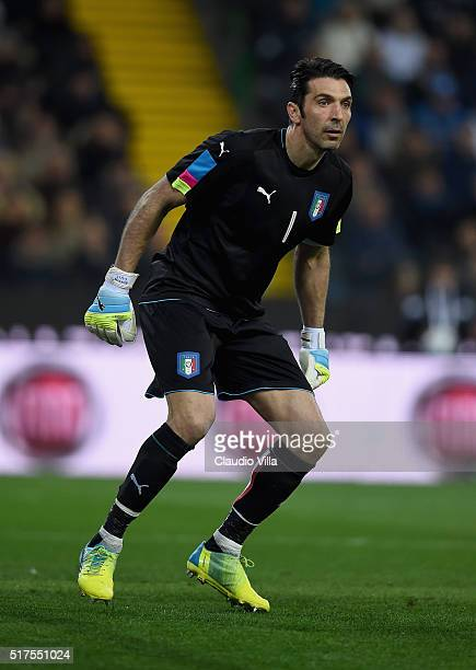 Gianluigi Buffon of Italy during the international friendly match between Italy and Spain at Stadio Friuli on March 24 2016 in Udine Italy