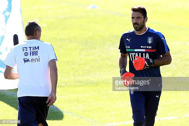 Gianluigi Buffon of Italy during the training session at Coverciano on October 5 2016 in Florence Italy