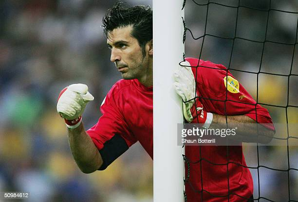 Gianluigi Buffon of Italy during the UEFA Euro 2004 Group C match between Italy and Sweden on June 18 2004 at the Estadio Dragao in Porto Portugal
