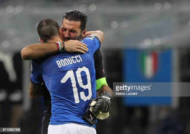 Gianluigi Buffon of Italy embraces Leonardo Bonucci at the end of the FIFA 2018 World Cup Qualifier PlayOff Second Leg between Italy and Sweden at...