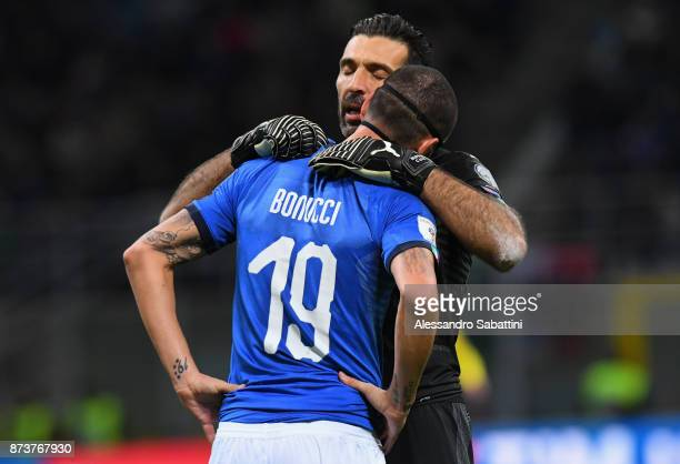 Gianluigi Buffon of Italy embraces Leonardo Bonucci of Italy during the FIFA 2018 World Cup Qualifier PlayOff Second Leg between Italy and Sweden at...